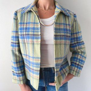 Vintage • Pastel Check Zip Up Jacket